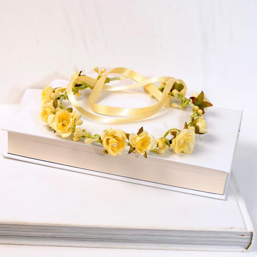 Yellow Floral Headband Spring Flower Crown Woodland Hair Wreath