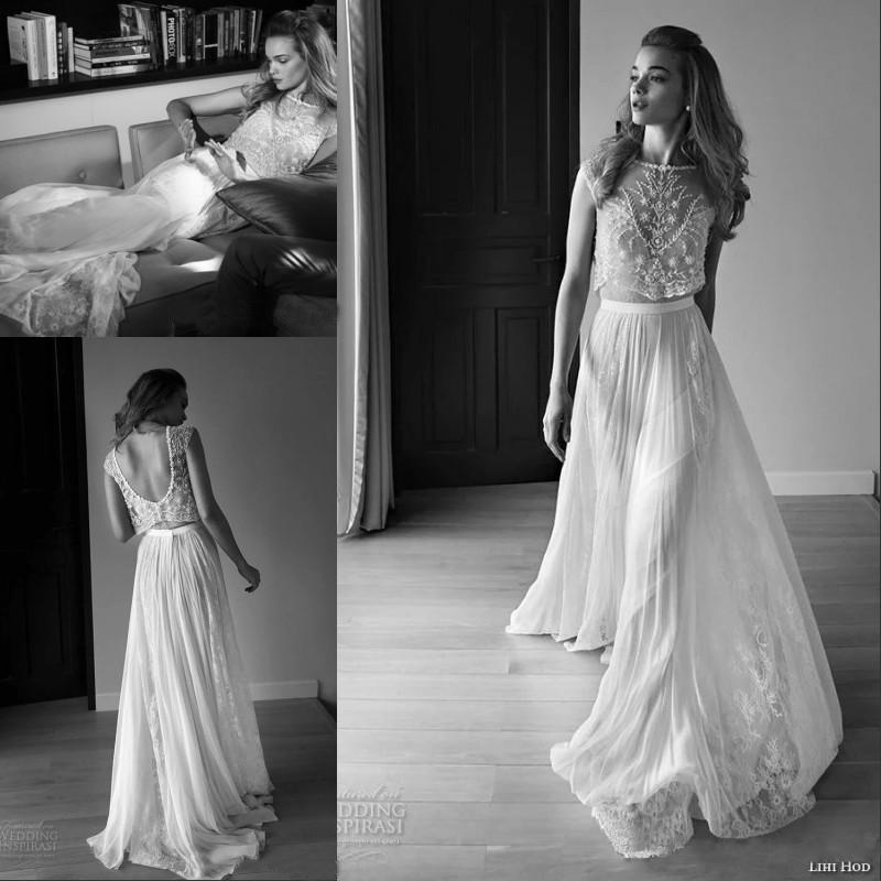 2015 Lace Vintage Wedding Dresses Beach Bohemian Boho Plus Size With Short Capped Sleeves Two Pieces Beaded Lihi Hod Bridal Gowns Style