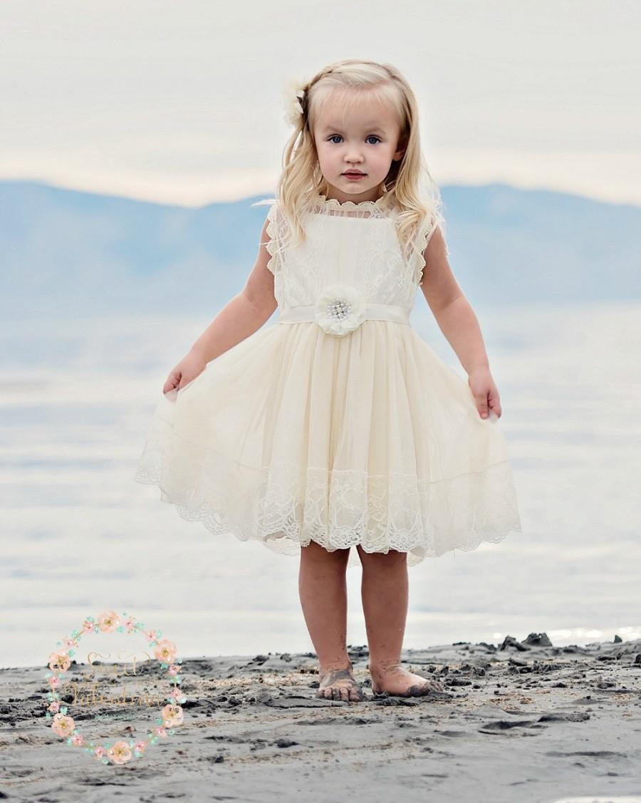 Hochzeit - Ivory lace flower girl dress, country rustic flower girl dress,country lace flower girl dress, Ivory lace dress,Baby Dress, girl dresses.