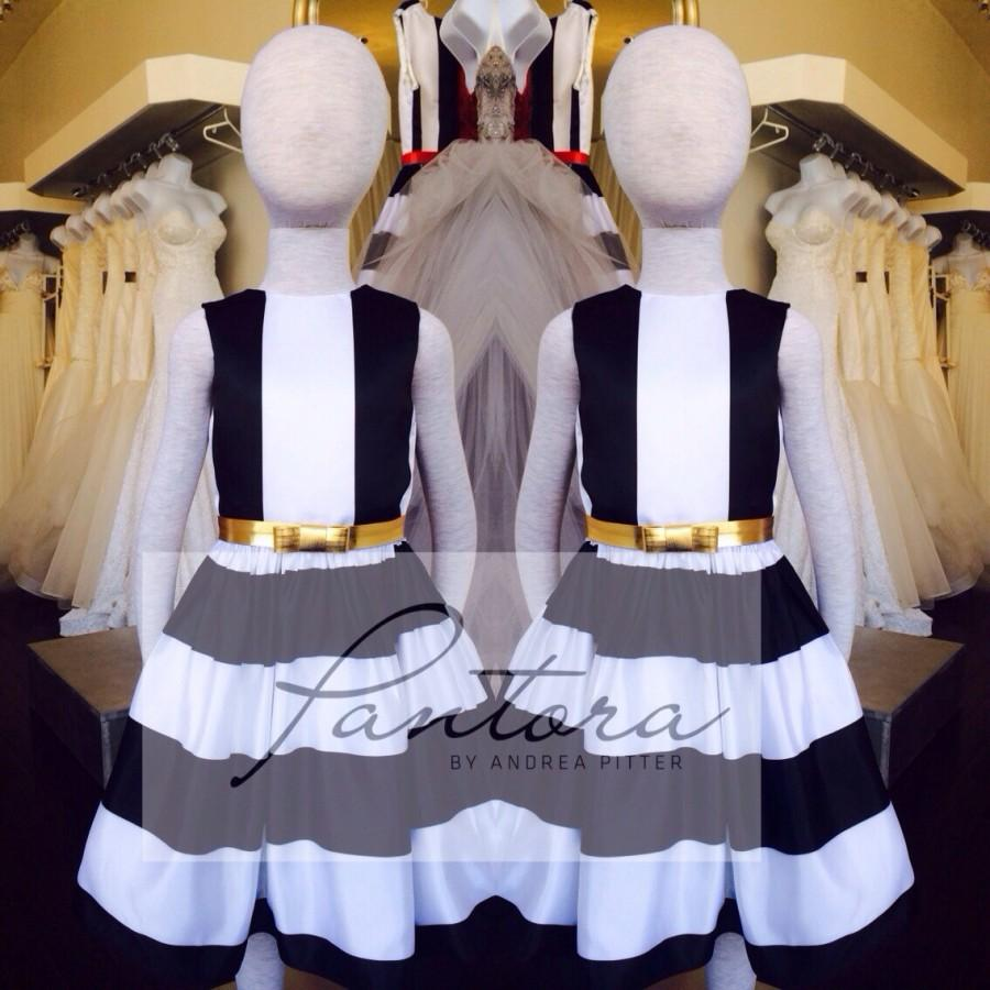 Wedding - Black and white striped flower girl dresses