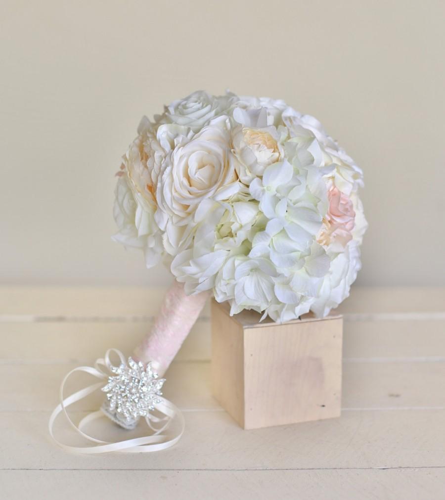 Silk Bridal Bouquet Pink Roses Babys Breath Rustic Chic Wedding New