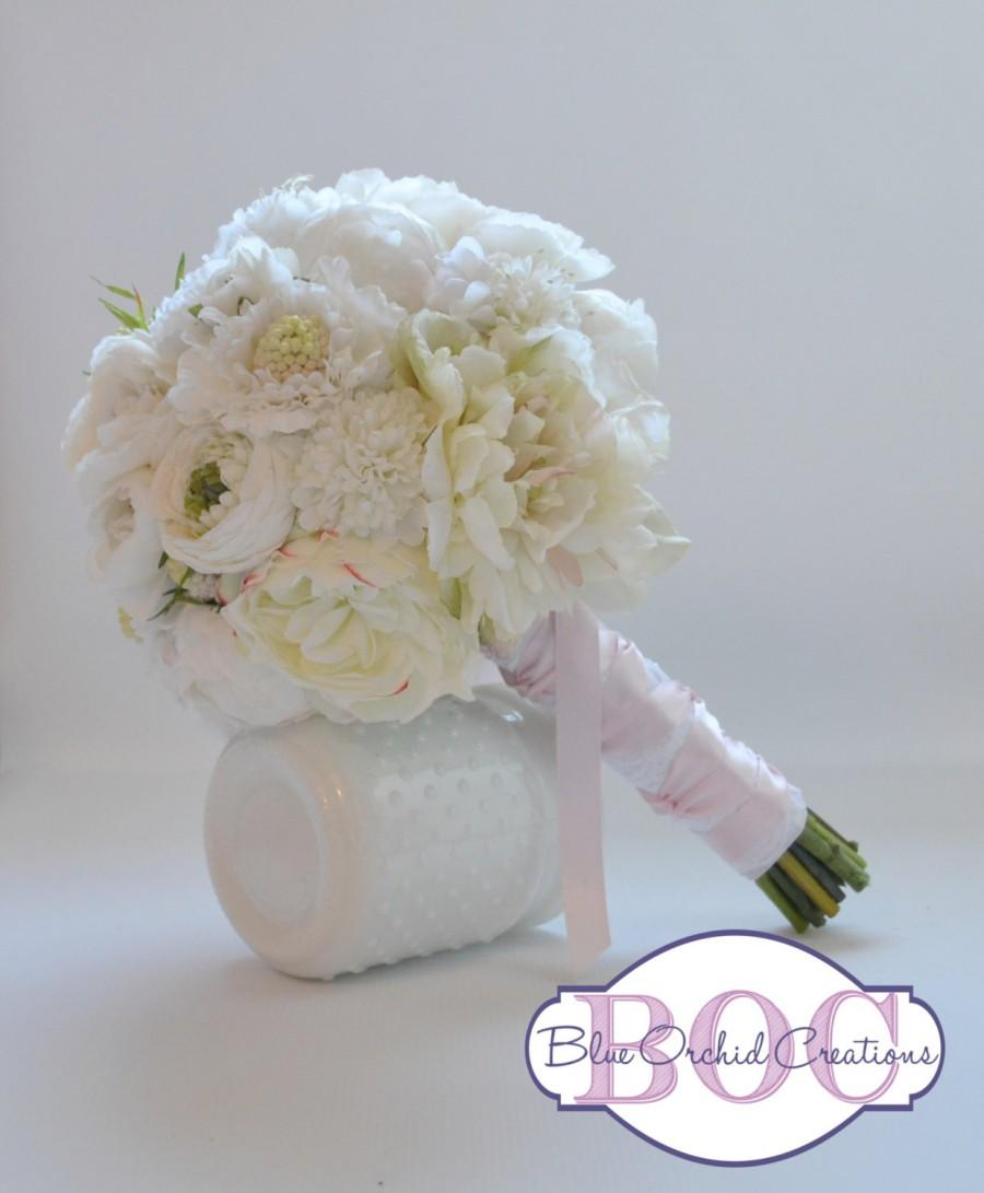 Свадьба - Wedding Bouquet - White Bouquet, White Peonies, Ranunculus, and Scabiosa, Silk Bouquet, Shabby Chic Bouquet