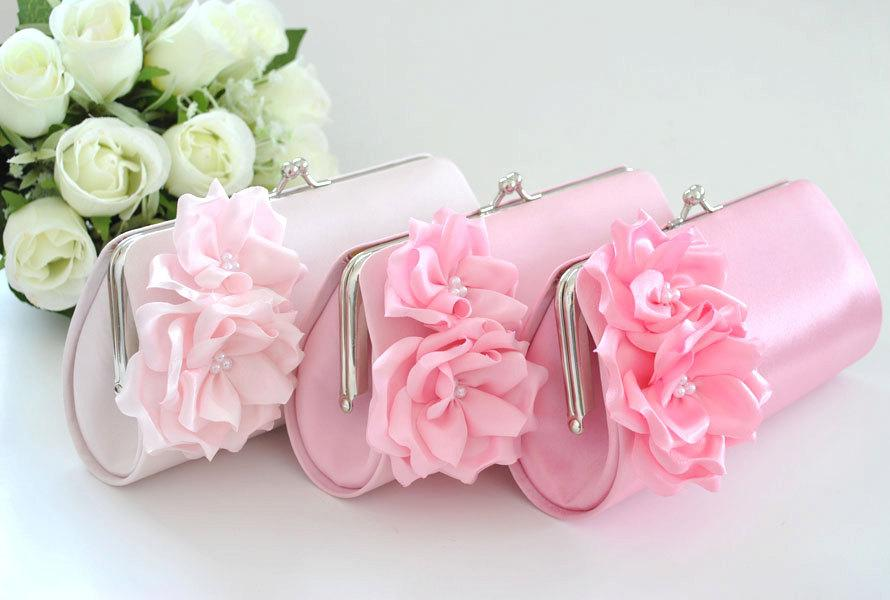 Wedding - Pale Pink / Pink / Candy Pink - Bridesmaid Clutch / Bridal clutch - Choose the color you like
