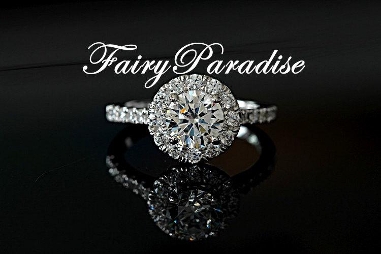 Mariage - 1 Ct (6.5 mm) Halo Promise ring for her / 925 Silver Engagement Rings, Round Cut Lab Made Diamond, Free Gift Box ( FairyParadise )