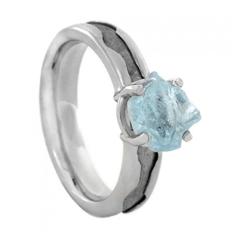 Mariage - Rough Aquamarine Engagement Ring, Palladium Ring With Meteorite Inlay, Wave Ring