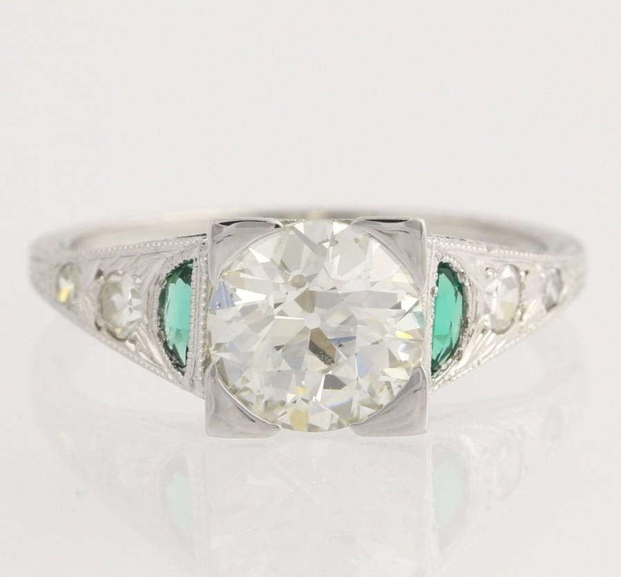 Mariage - Art Deco Engagement Ring Diamond & Syn Emerald - 18k White Gold GIA Cert 1.57ctw Unique Engagement Ring L1578 R