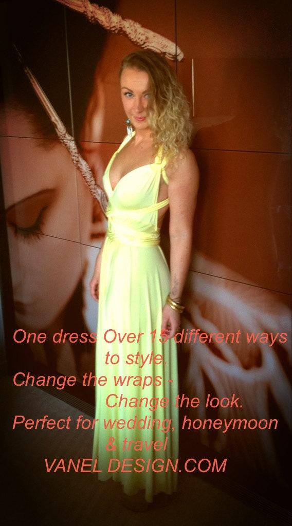 Mariage - Bridesmaids dress Infinity Dress Wedding Gown Yellow Bridesmaids Dresses Wrap Long Dresses Convertable dresses