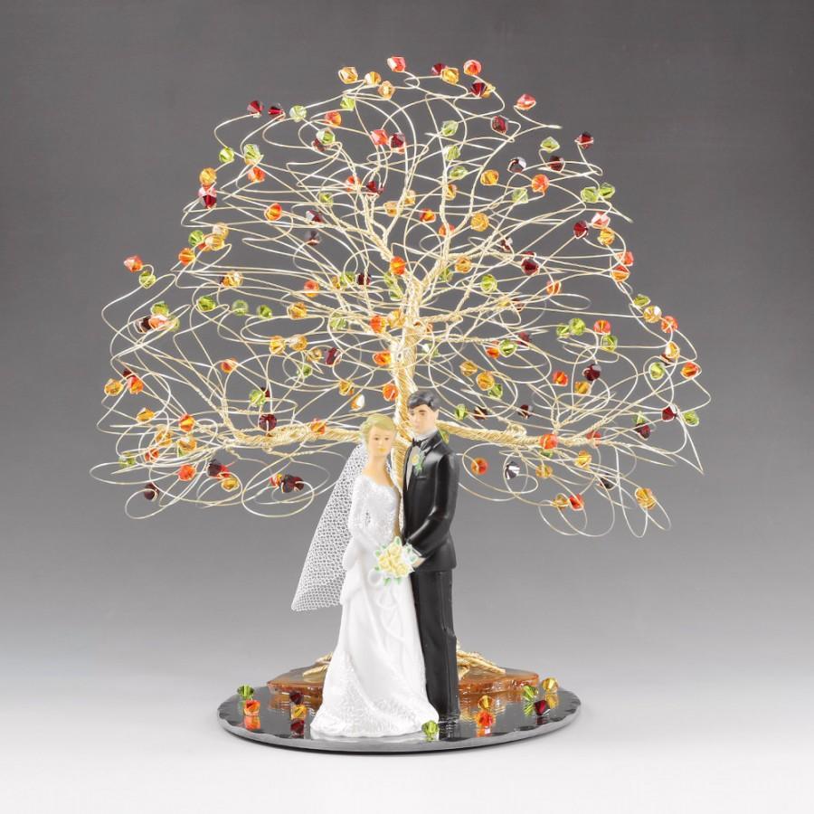 Fall Wedding Cake Topper 8 X 9 In Genuine Swarovski Crystal Elements With Figurine Fireopal