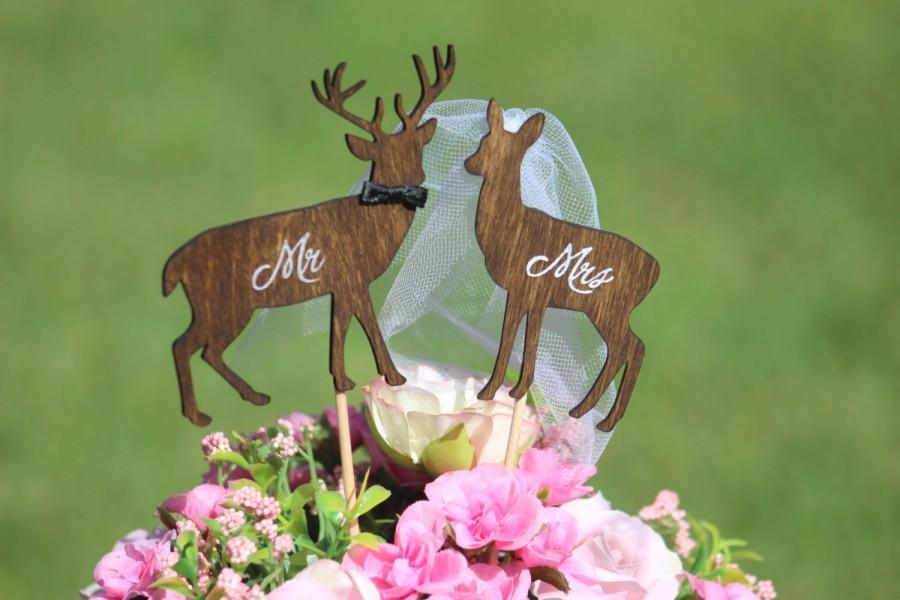 Свадьба - Deer Cake Topper - Mr & Mrs Deer- Beach wedding - Bride and Groom - Rustic Country Chic Wedding