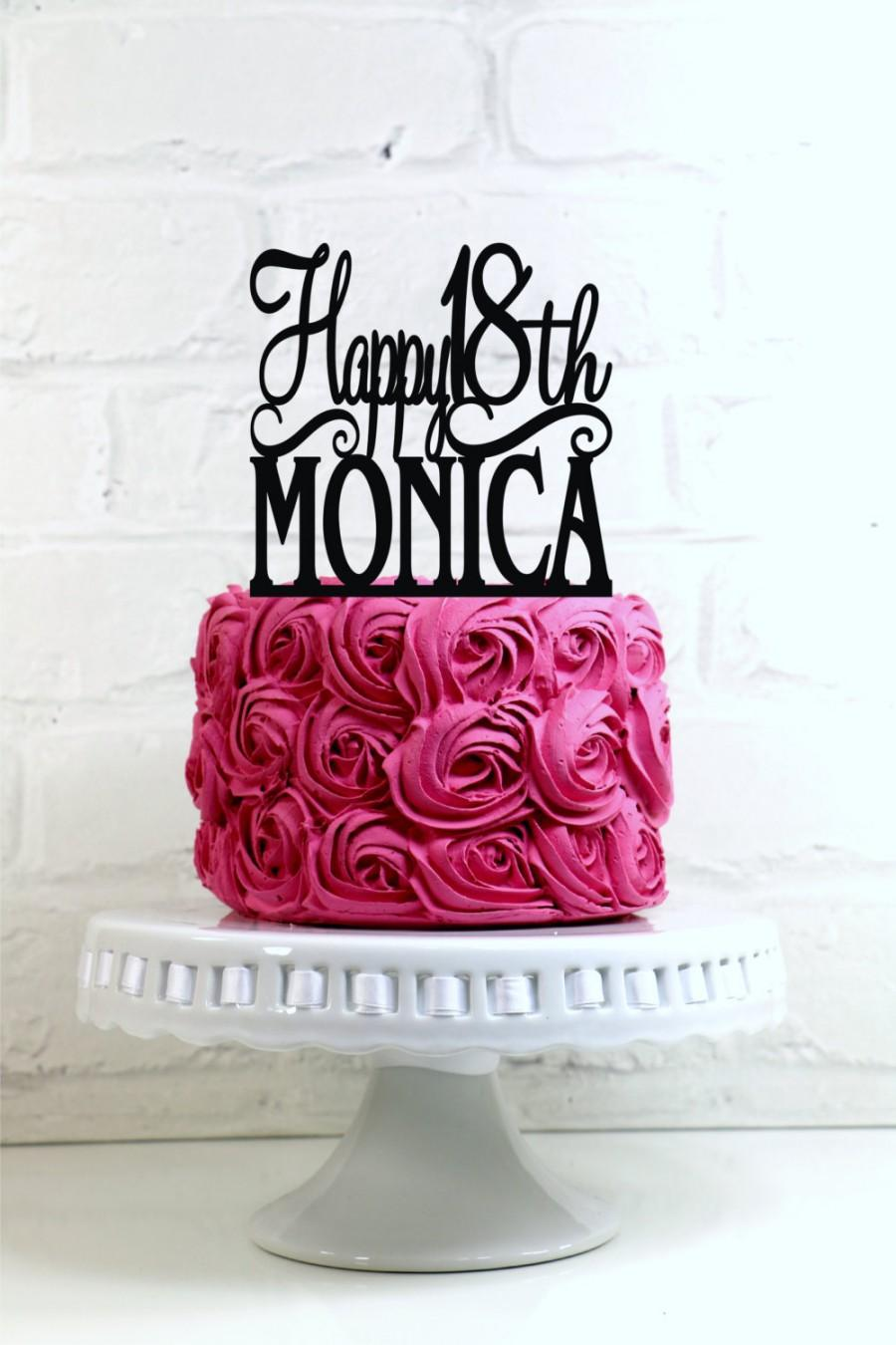 Happy 18th Birthday Cake Topper Personalized With Name And Age