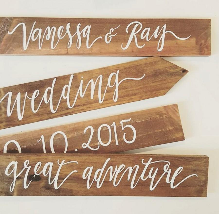 Personalized Wedding Directional Signs Four Tier Set Rustic Wooden The Paper Walrus