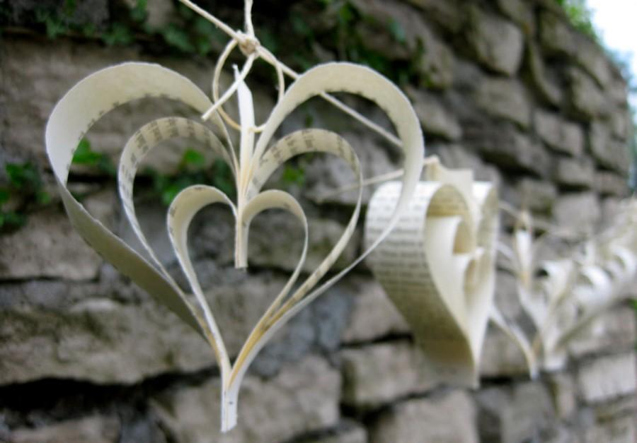 Свадьба - Paper Heart Garland-10ft-Wedding Decor-Wedding Garland-Bunting-Book Garland-Bridal Shower-Paper Garland-Hanging Paper Art-Baby Shower