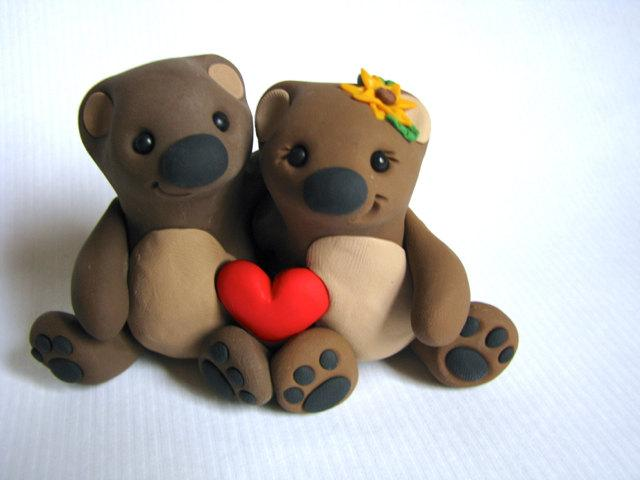 Cuddle Bears Wedding Cake Topper Handmade