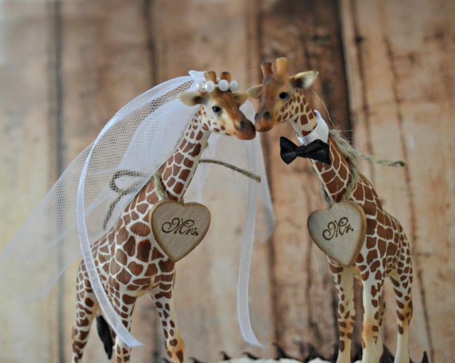 Giraffe Wedding Cake Topper Jungle Safari Zoo Circus Themed Bride And Groom Mr Mrs Sign Kissing Animal Decorations Lover