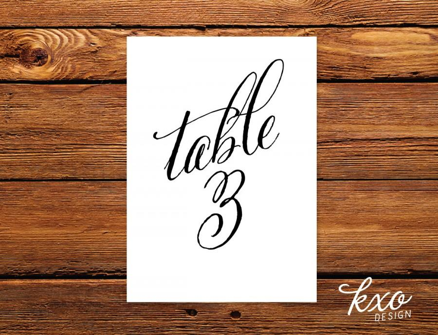 Calligraphy Table Numbers Wedding Table Number