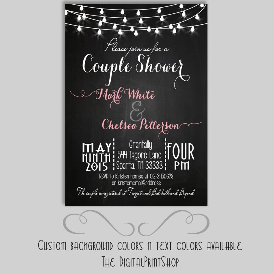 Hochzeit - Rustic chalkboard couples shower, Bridal shower invite, chalkboard, cottage chic INVITATION Printable DIY (105) Digital Downloadable (.jpg)
