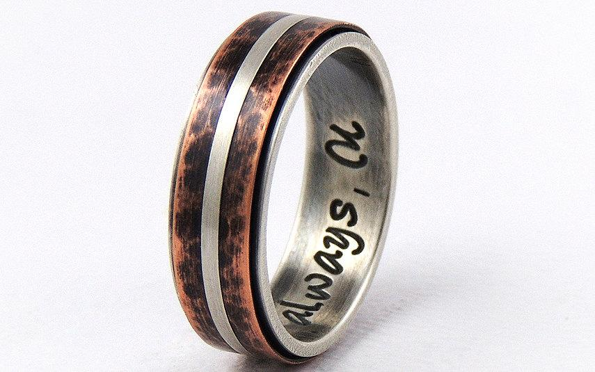 Mariage - Silver copper wedding band ring - 7mm wide,handmade wedding ring,engagement band ring,mens ring,