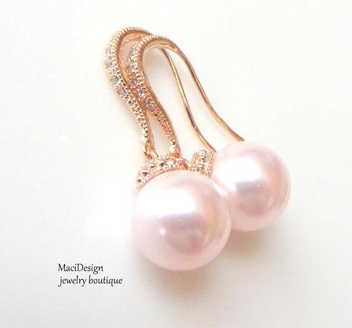 Mariage - Pink Swarovski, Pink Pearls Rose Gold Earrings, Bridal Earrings, Wedding jewelry, Bridesmaids Earrings, Pink Wedding,Hypoarlleg