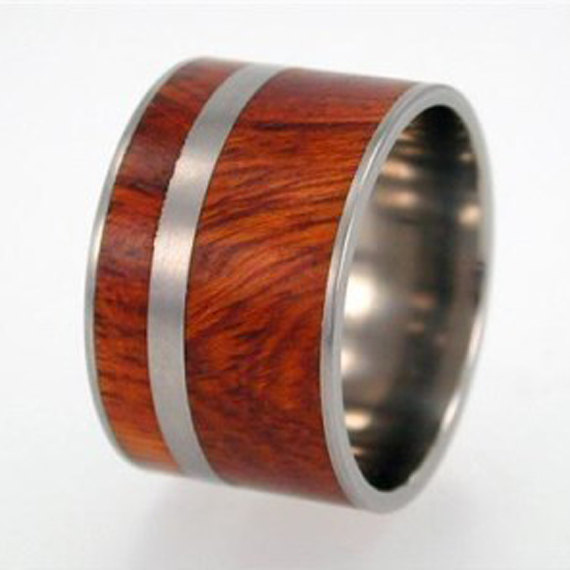 Mariage - Wooden Wedding Band, Ironwood Inlay Titanium Ring, Ring Armor Waterproofing, Ring Armor Included