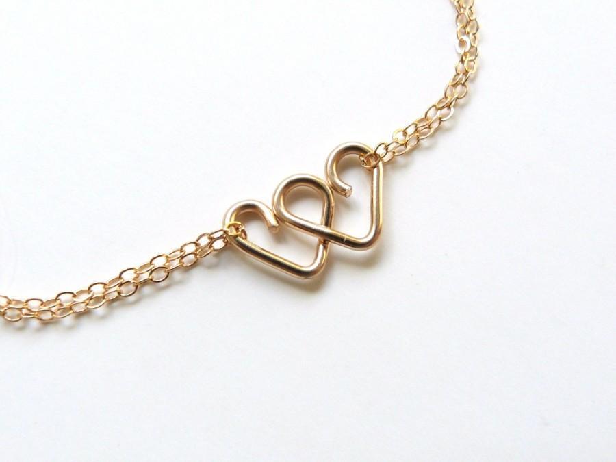 Mariage - Infinite Love Bracelet Bridesmaid Gift Sister Gift 2 Heart Infinity Bracelet Friendship Bracelet Heart Jewelry