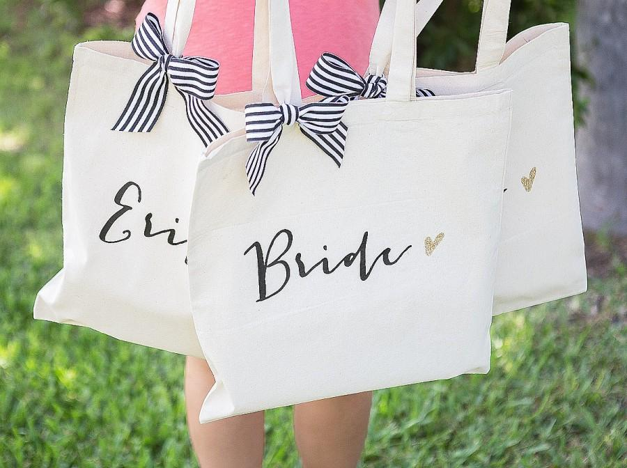 Свадьба - Bride Bag for Bridal Shower Gift, Canvas Bag for Bride to Be, Striped Ribbon Bag for Gift for Wedding Bridal Shower  ( Item - BBR300)