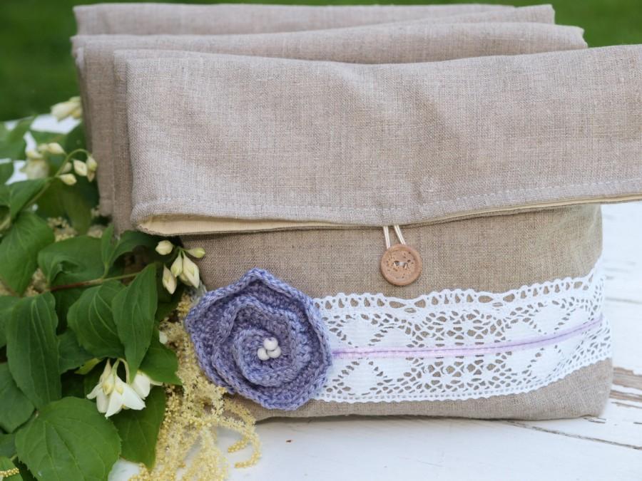 Hochzeit - Set of 6 Natural Linen Pouches with Lavender Flower  Bridesmaids Clutches Linen Clutches