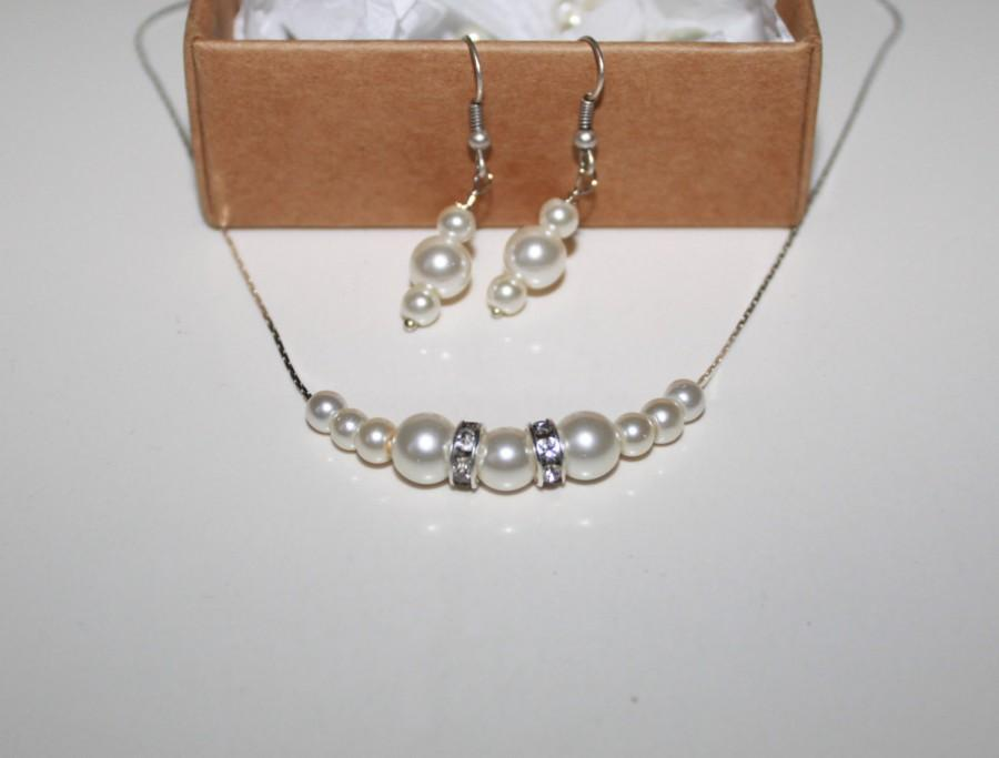 0 Swarovski Ivory Pearl Earring And Necklace Set Bridesmaid Gifts Silver Filled Jewelry Of 4 5 6 7 8 9 10