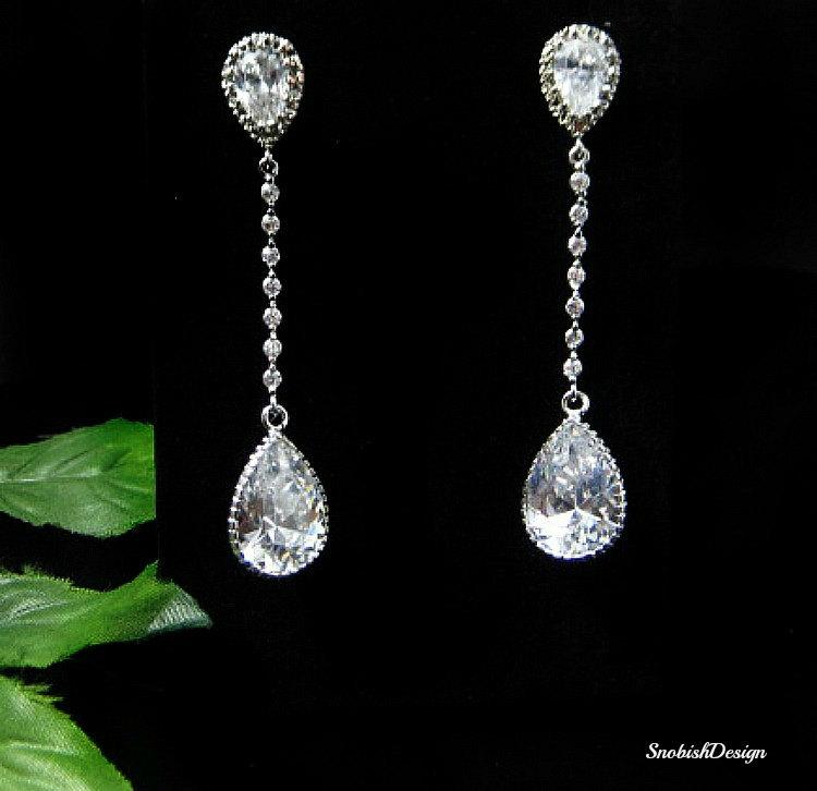 Cubic Zirconia Wedding Earrings Bridal Cz Long Drop Crystal Bride Jewelry