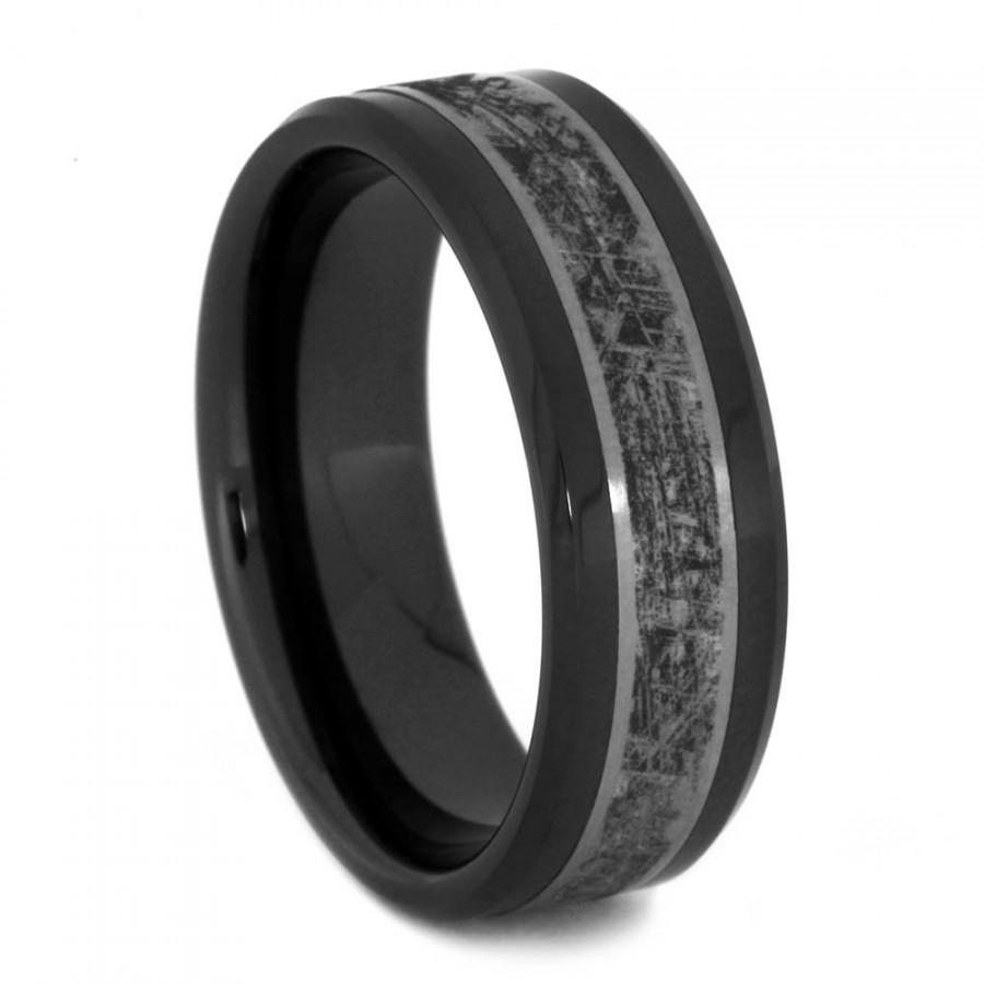 black ceramic wedding band, titanium ring with mimetic meteorite