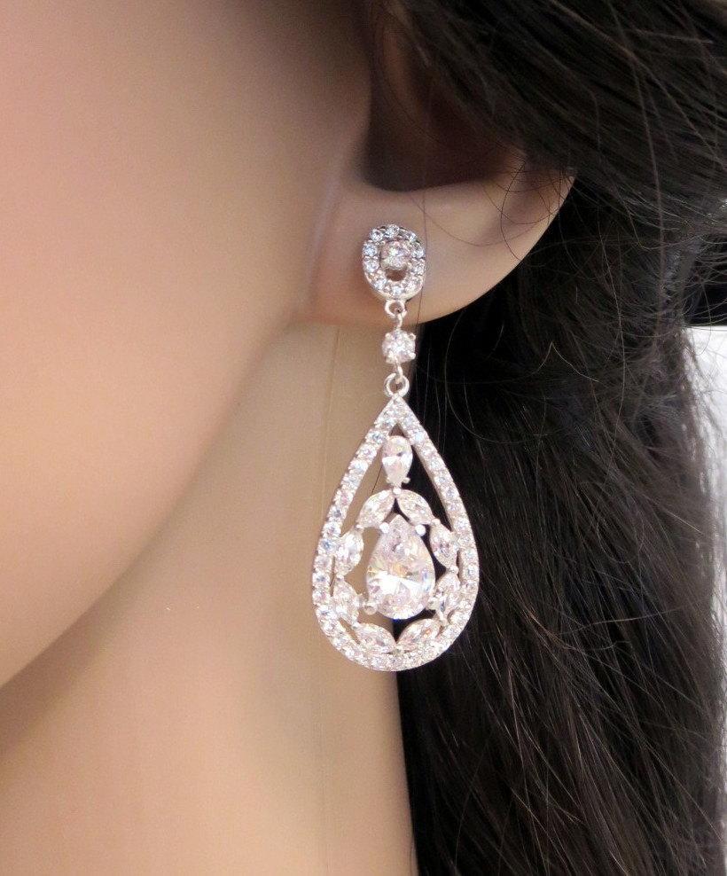 Свадьба - Bridal earrings, Wedding jewelry, Chandelier earrings, Vintage style earrings, Swarovski crystal wedding earrings, Bridal jewelry