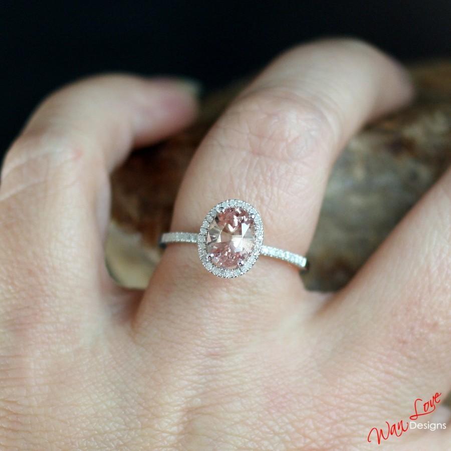 Padparadscha Sapphire Diamond Oval Halo Engagement Ring 2ct 8x6mm 14k 18k  White Yellow Rose Goldplatinumcustom Madeweddinganniversary