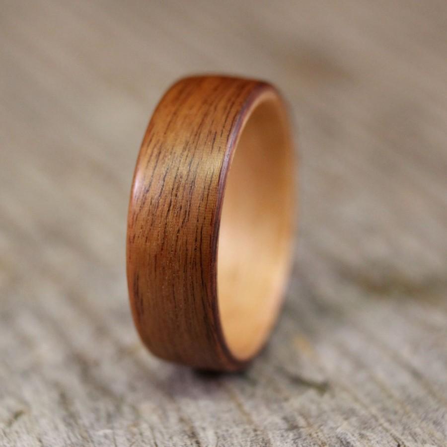 زفاف - Santos Rosewood Bentwood Ring with Birch Lining - Handcrafted Wooden Ring