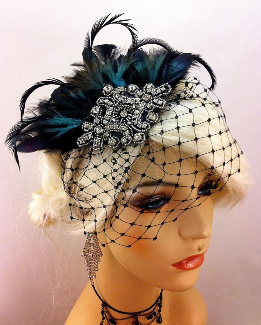 Mariage - Great Gatsby, Downton Abbey, 1920s Flapper Headpiece, Gatsby Headpiece, Feather Fascinator, Rhinestone Silver Beaded Art Deco, Color Choice