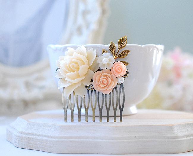 Свадьба - Bridal Comb, Peach Wedding Hair Comb, Ivory Peony Peach Salmon Pink Rose Flower Antiqued Gold Leaf Branch Pearl Hair Comb, Bridesmaid Gift