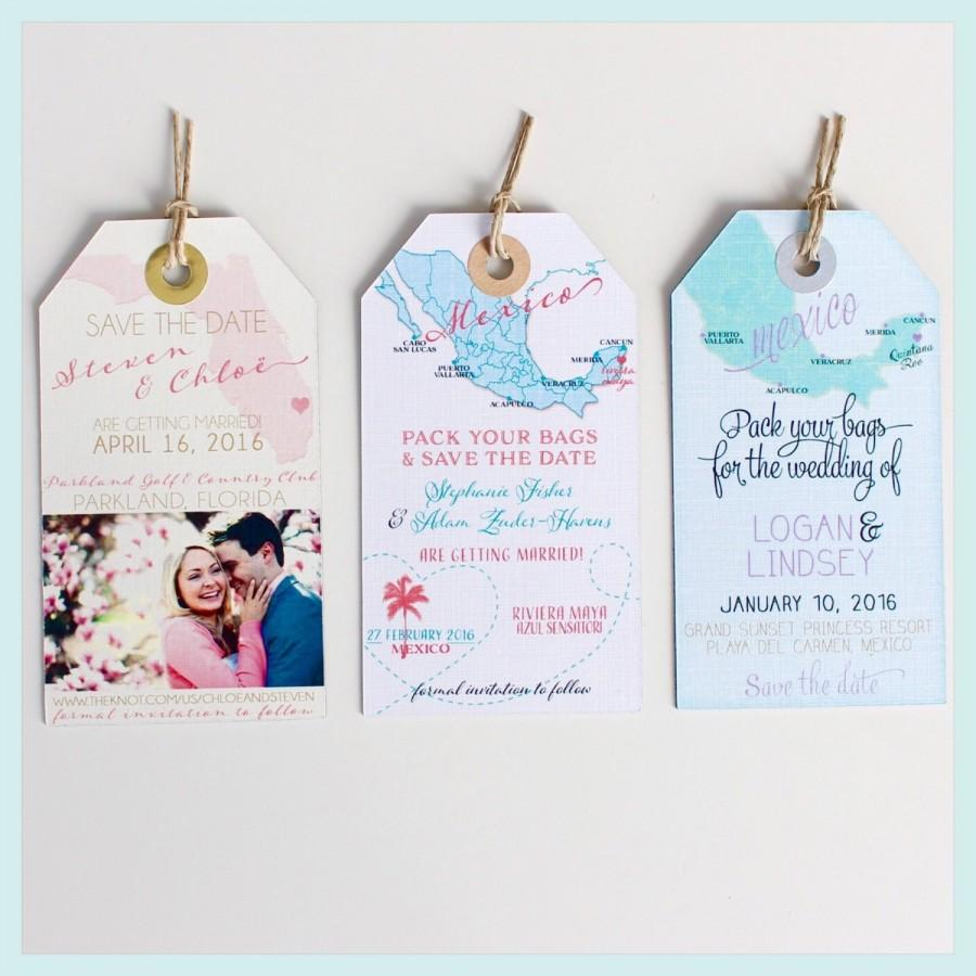 Wedding Invitation Magnet Sample. Save The Date Luggage Tags. Not ...