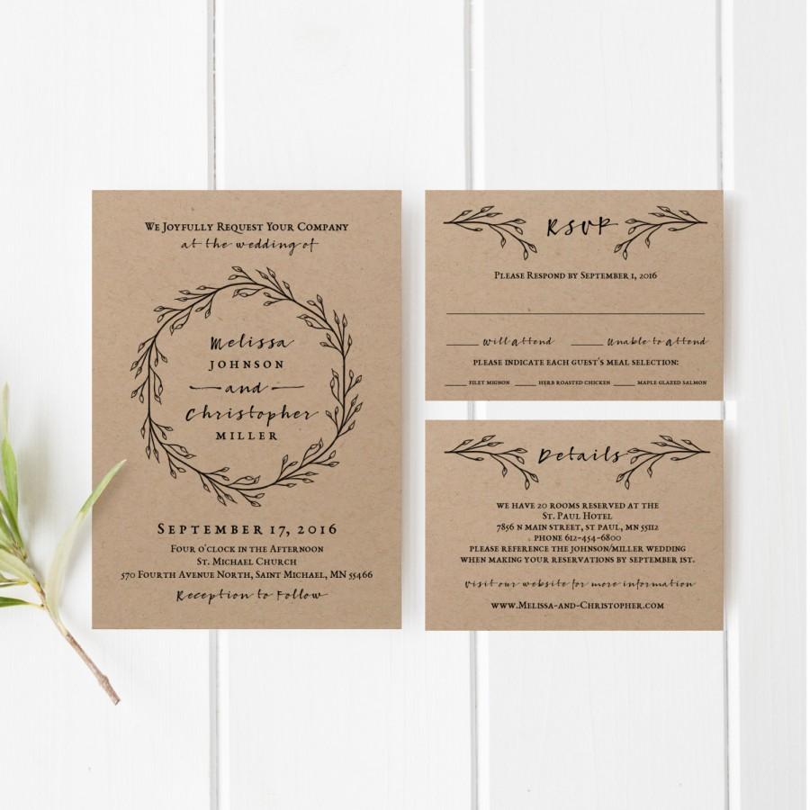 Hochzeit - Printable Wedding Invitation Template Set