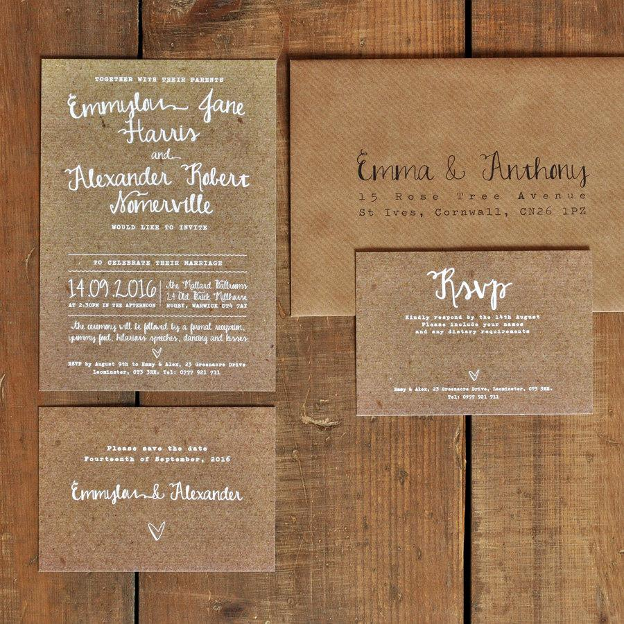White Calligraphy Kraft Effect Rustic Wedding Invitation Set ...
