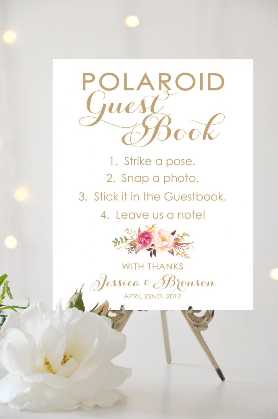 زفاف - Polaroid Guest Book Sign - 8 x 10 or 11 x 14 sign - Personalized sign - Vintage Antique Gold - I Create and You Print