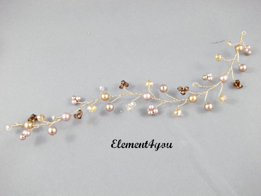 Mariage - Bridal hair vines, Bridal hair accessory, Champagne gold hair vines, Pearls Crystals silver hair vines.