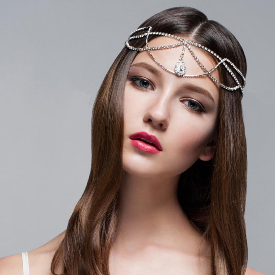 Hochzeit - Sandra Rhinestone Headband, Boho Headband, Gatsby Headband, Bohemian Headband, Vintage inspired Headband, Forehead Jeweled Headpiece