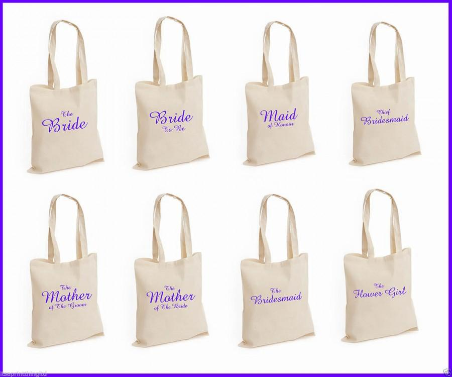 Mariage - Printed Purple Wedding Party Bridal Tote Bags, Bridesmaid, Favour Hen Party Gift Bags