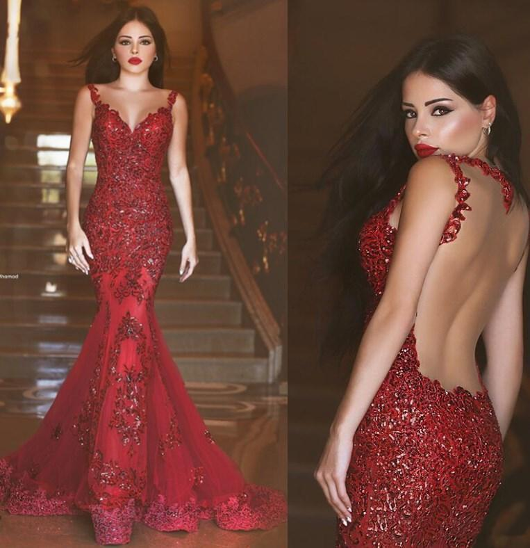 Wedding - 2016 Cheap Red Prom Dresses Spaghetti Straps Backless Applique Floor Length Mermaid Long Evening Party Gowns Formal Gowns Custom Made Online with $154.8/Piece on Hjklp88's Store