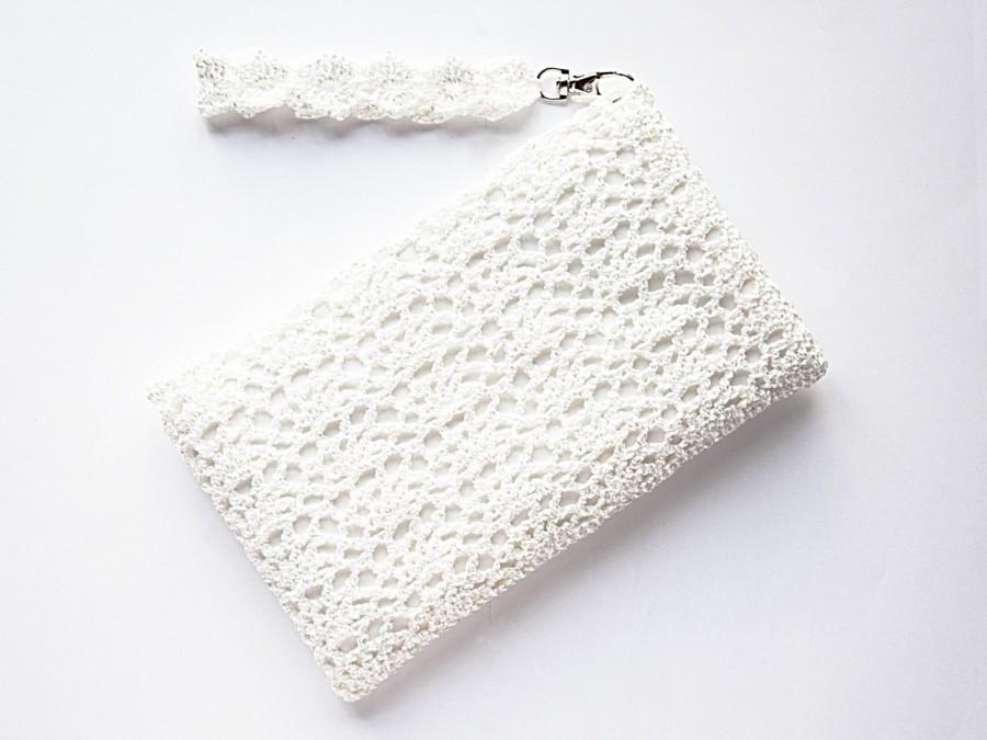 Mariage - Ivory Bridal Clutch Bag – Bridal White Lace Purse – Crochet Lace Wedding Purse – Wedding Bag – Pearl White Small Wristlet Bag – Crochet Bag