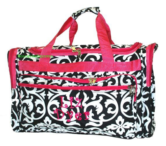 "Mariage - Large Duffle Bag, Monogram Duffle Bag, Personalized Duffle Bag, Canvas Duffle Bag, Duffle Bags,Damask Duffle Bag Hot Pink  22"" Duffle"