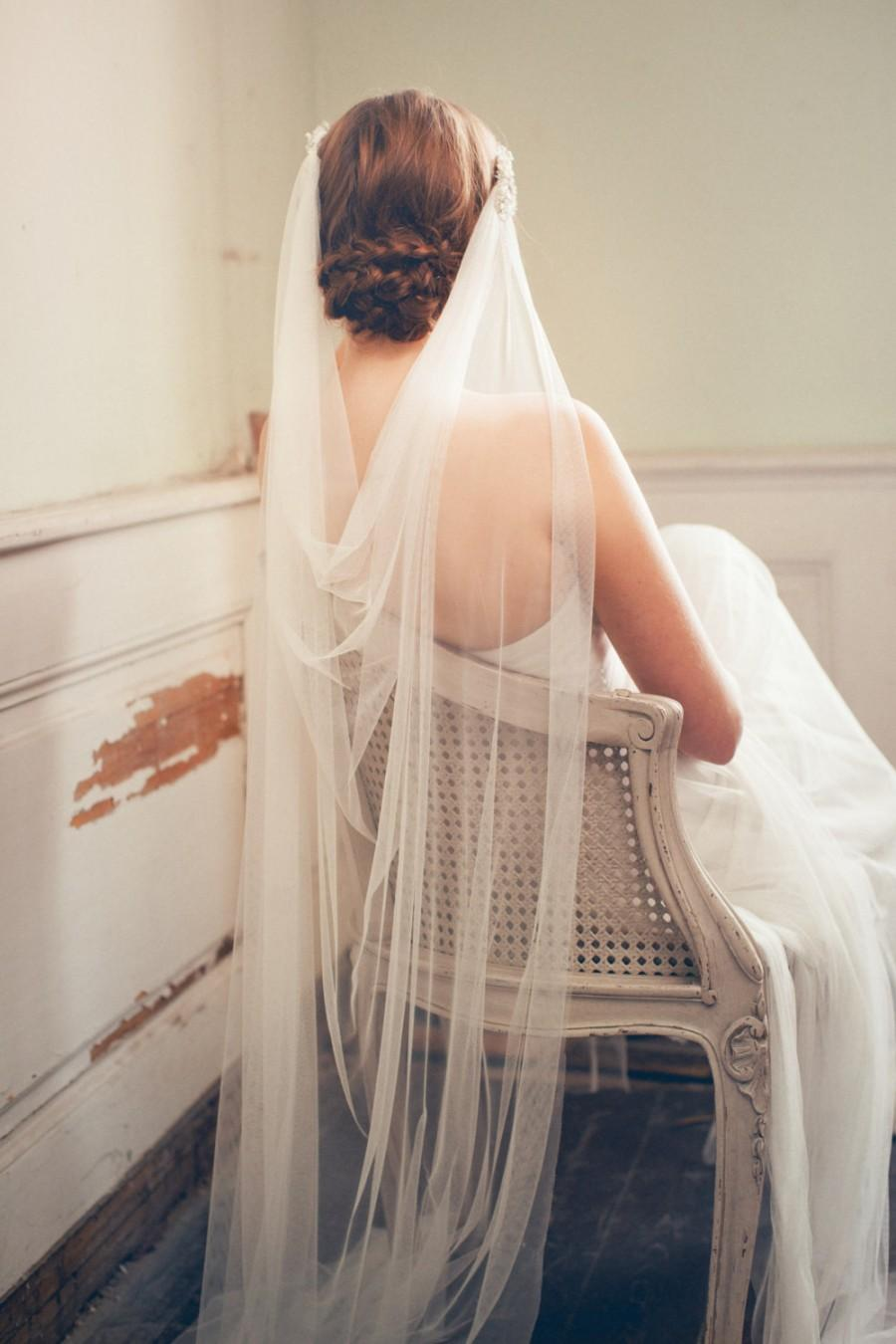 Mariage - Wedding Headpiece - Bridal Veil - Boho Ivory Veil - Floor Length Wedding Veil - Bohemian Wedding - Beach Wedding Veil - VIOLA