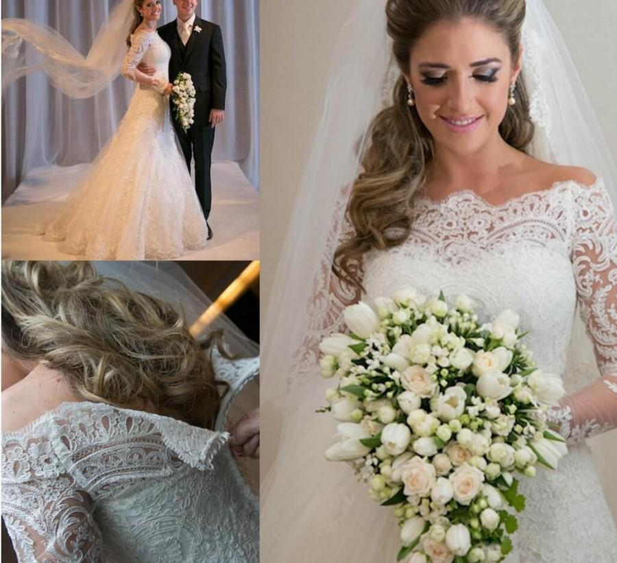Düğün - Arabic Lace Wedding Dresses With Long Sleeves 2016 Vestidos De Noiva Romantic Appliques Mermaid Bridal Gowns Beach Wedding Gowns Robe 2015 Online with $113.88/Piece on Hjklp88's Store
