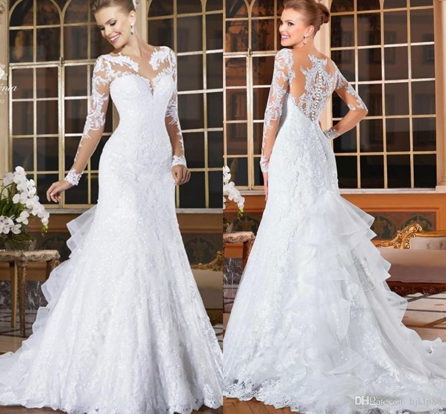 Long Sleeves Lace Mermaid Wedding Dresses 2016 Bling Romantic Appliques Lace Bridal Dresses