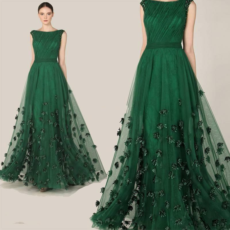 2015 Zuhair Murad Formal Evening Dresses Emerald Green Tulle Cap Sleeve  Flowers Party Prom Celebrity Dresses Arabic Special Occasion Gowns Online  with ... 031e5e368202
