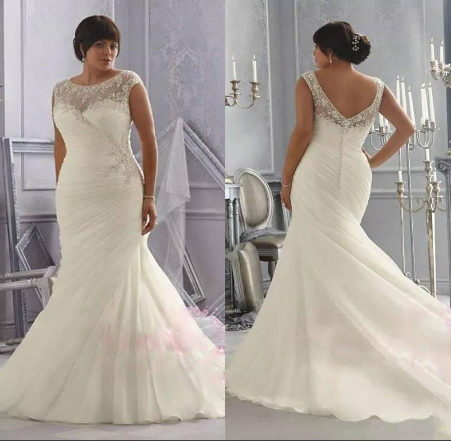 2017 Free Shiping Plus Size Custom Made Formal Mermaid Wedding Dresses Bateau Cap Sleeves Lique Lace Pleated Backless Bridal Gowns Online With