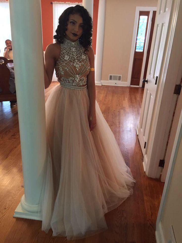 Mariage - 2016 Sexy Two Pieces Prom Dresses High Neck Beaded Top Champagne Tulle Floor Length Formal Party Dresses Evening Gowns Online with $107.23/Piece on Hjklp88's Store